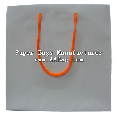Plain White color matte lamination Paper Bag with Custom Rope