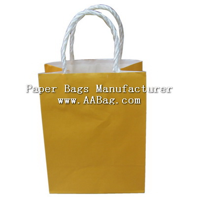 Small Solid color printed Kraft Paper Bag with Twist Paper Handle