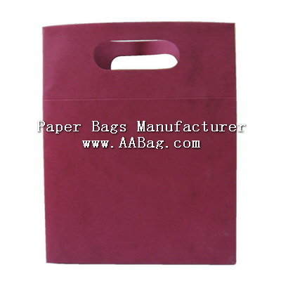 Solid color printed Paper Gift Bag with Die cut Handle