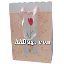 Flower top Paper Gift Bag with satin ribbon handle