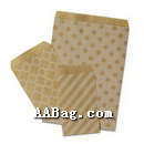 Natural Kraft Paper Merchandise Bags with pattern,no Gusset,no width bottom