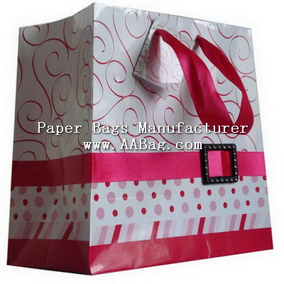 Luxurious Paper Gift Bag with plastic buckle & Ribbon