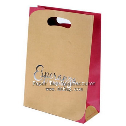 Custom Kraft Paper Bag with Cute Die Cut Handle & Silver Logo