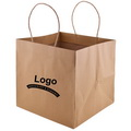 Natural Brown Kraft Wide Gusset Take-Out Bags with Customize logo for Pizza box delivery